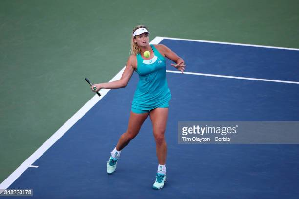 S Open Tennis Tournament DAY TWELVE CoCo Vandeweghe of the United States and Horia Tecau of Romania in action against Martina Hingis of Switzerland...