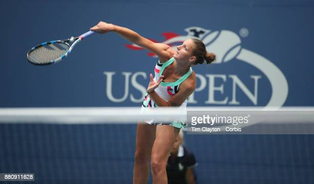 S Open Tennis Tournament DAY TWO Karolina Pliskova of the Czech Republic in action against Magda Linette of Poland during the US Open Tennis...