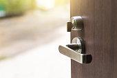 Open the modern wooden door with metal door handles lock to see outside nature view (Outdoors).
