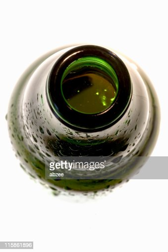 Open top of beer bottle, close up