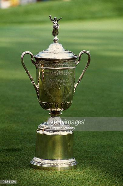 Open trophy on parade during the US Open 1990 held in 1990 at the Medinah Country Club in Chicago USA