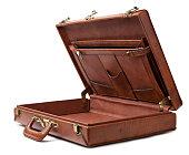 Open vintage briefcase