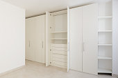 Interior of modern empty apartment, wardrobe