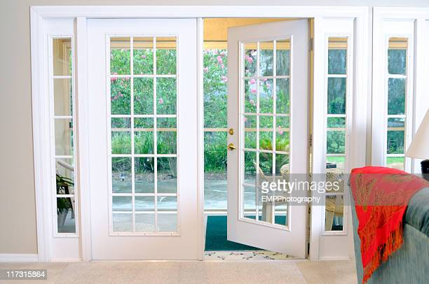 Open White French Doors Without Curtains