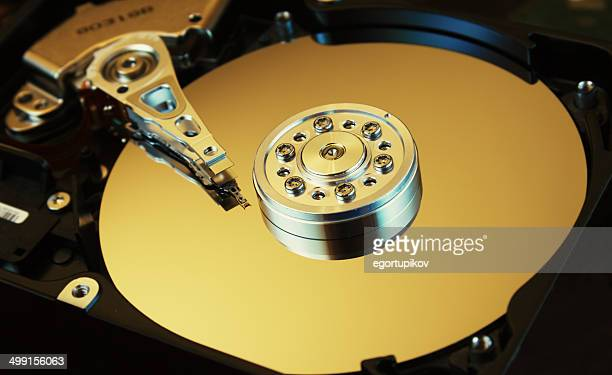 HDD open with visible cylinders and writing printing heads