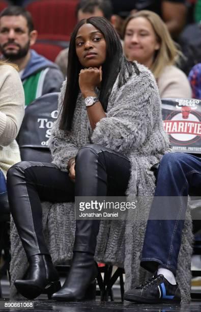 S Open Womens Tennis winner Sloan Stevens sits courtside as the Chicago Bulls take on the Boston Celtics at the United Center on December 11 2017 in...
