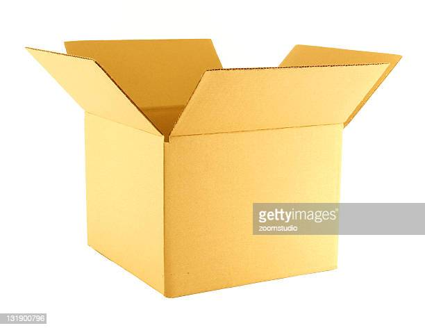 Open yellow cardboard box