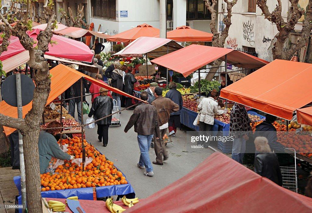 Open-air market scene
