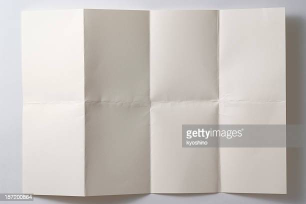 Opened a folded paper on white background with shadow
