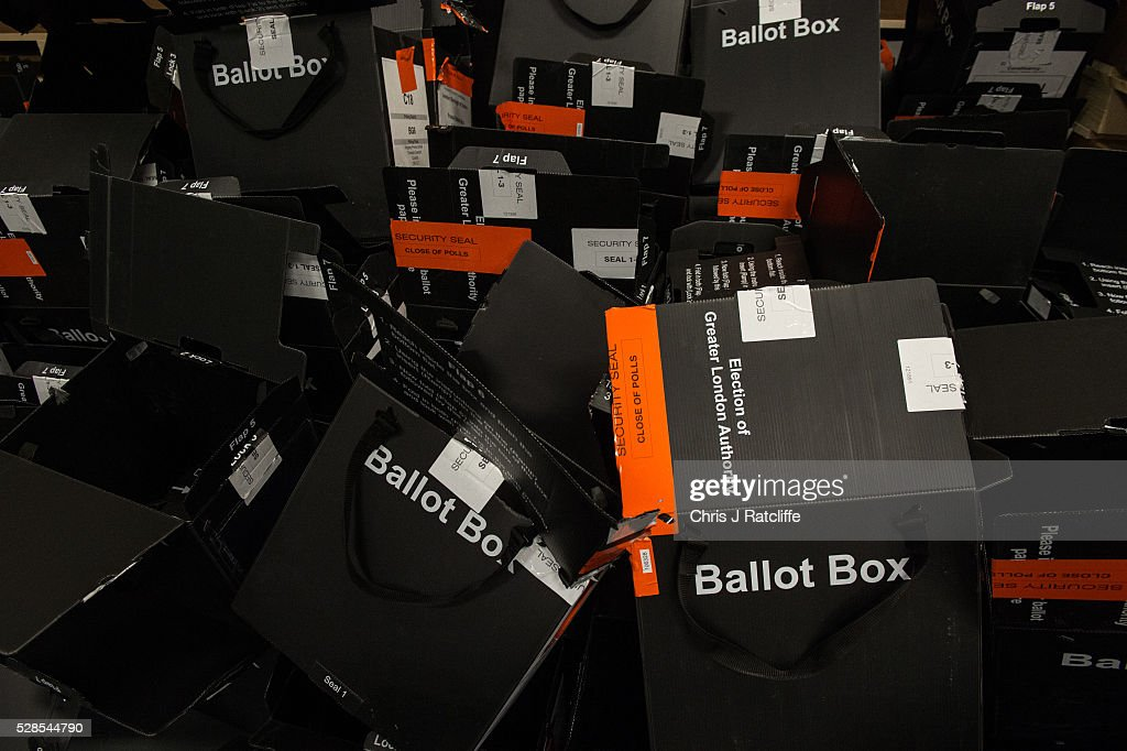 Opened and empty ballot boxes pile up during the London Mayoral and Assembly election count at Kensington Olympia on May 6, 2016 in London, England. This is the fifth mayoral election since the position was created in 2000. Previous London Mayors are Ken Livingstone for Labour and more recently Boris Johnson for the Conservatives. The main candidates for 2016 are Sadiq Khan, Labour, Zac Goldsmith, Conservative, Suan Berry, Green, Caroline Pidgeon, Liberal Democrat, George Galloway, Respect, Peter Whittle, UKIP and Sophie Walker, Wonmen's Equality Party.