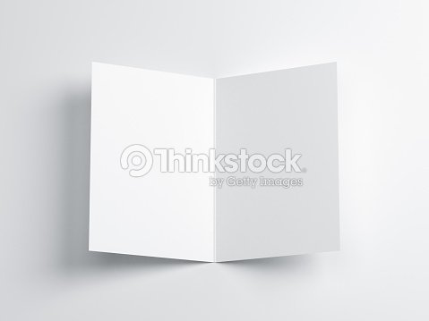 Opened blank greeting card mockup top view on leaflet or invitation opened blank greeting card mockup top view on leaflet or invitation stock photo m4hsunfo