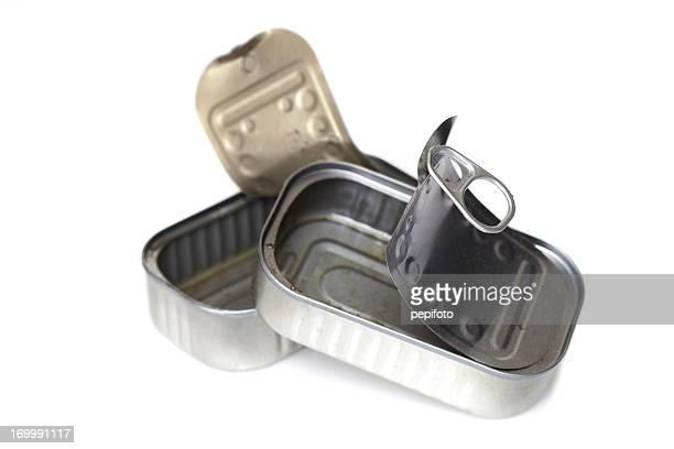 Opened empty sardine can