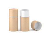 Opened Kraft paper tube tin can Mockup, 3d rendering