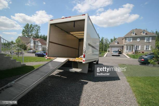 Opened Moving Truck with Ramp