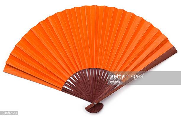 Opened Orange Asian Fan with Brown Stained Wood Isolated