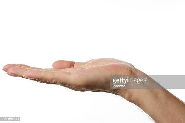 Opened palm up right hand gesture against white background