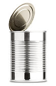 Opened Shiny Aluminum Tin  Can Without Label Isolated on White