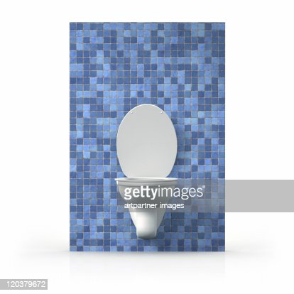 Opened Toilet on a blue wall with small blue tiles