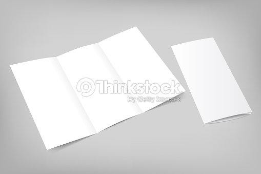 Opened Trifold Flyer Blank Template For Portfolio Stock Photo
