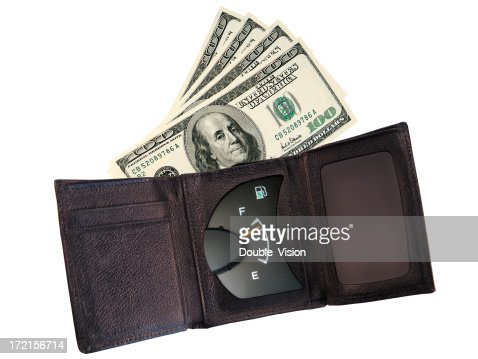 Opened Wallet or Billfold with Gauge Showing Full of Money