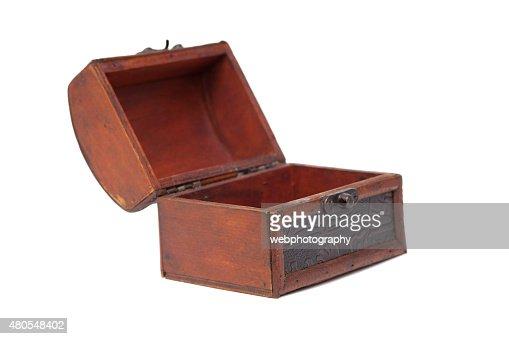 Abierto de madera joyero : Foto de stock