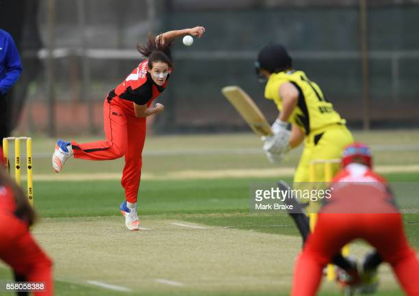 SA opening bowler Megan Schutt during the WNCL match between South Australia and Western Australia at Adelaide Oval No2 on October 6 2017 in Adelaide...