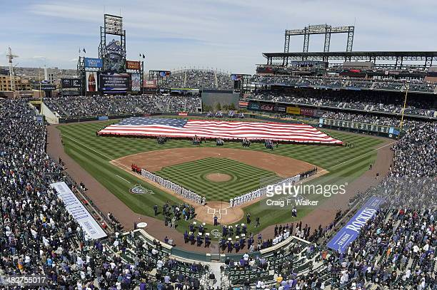 Opening ceremonies featuring a giant American flag fireworks and streamers kicked off the game The Colorado Rockies hosted the Arizona Diamondbacks...