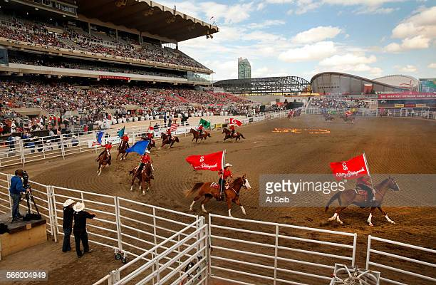 Opening ceremonies for the 101st Calgary Stampede on July 05 2013 which took on extra resonance after it was almost washed out by heavy rains Two...
