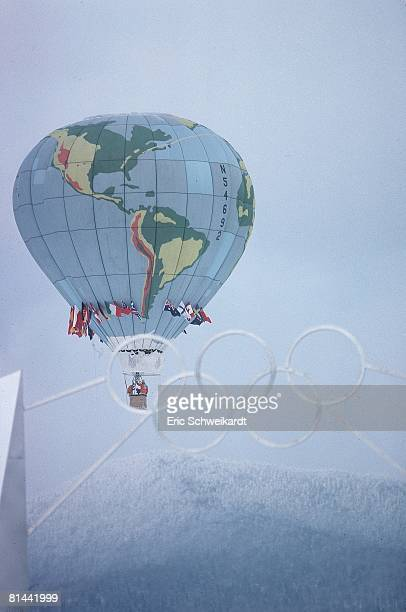 Opening Ceremony 1980 Winter Olympics Scenic view of hot air balloon Lake Placid NY 2/13/1980