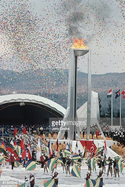 Opening Ceremony 1980 Winter Olympics Scenic view of olympic flame and balloons Lake Placid NY 2/13/1980