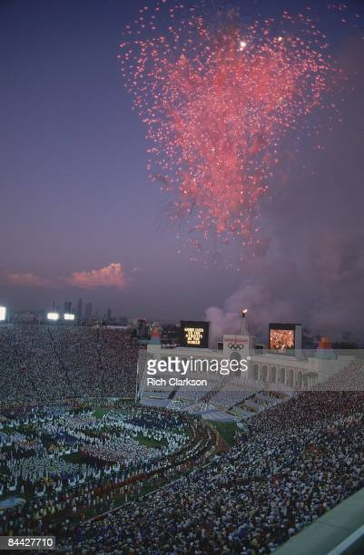 1984 Summer Olympics Scenic view of fireworks over Memorial Coliseum Los Angeles CA 7/28/1984 CREDIT Rich Clarkson