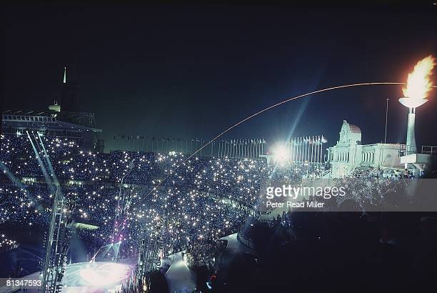Opening Ceremony 1992 Summer Olympics Scenic view of flame lighting via arrow at Olympic Stadium Barcelona Spain 7/25/1992