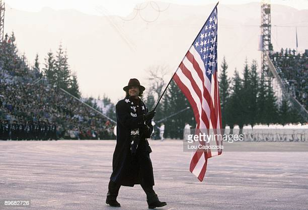1992 Winter Olympics Team USA flag bearer Bill Koch leading delegation during athlete procession at Theatre des Ceremonies Albertville France...