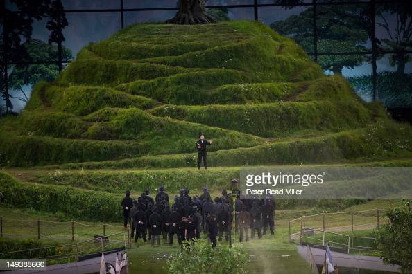 2012 Summer Olympics Northern Ireland celebrity actor Kenneth Branagh performing on model of Glastonbury Tor at Olympic Stadium London United Kingdom...
