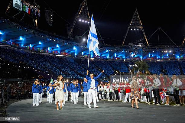 2012 Summer Olympics Team Israel sailing athlete and national flag bearer Shahar Zubari during Parade of Nations at Olympic Stadium London United...