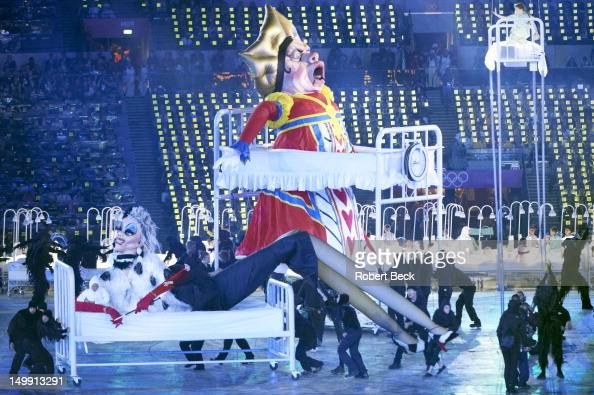 2012 Summer Olympics View of giant puppet representing famous British literary villain the Queen of Hearts from Alice in Wonderland during...