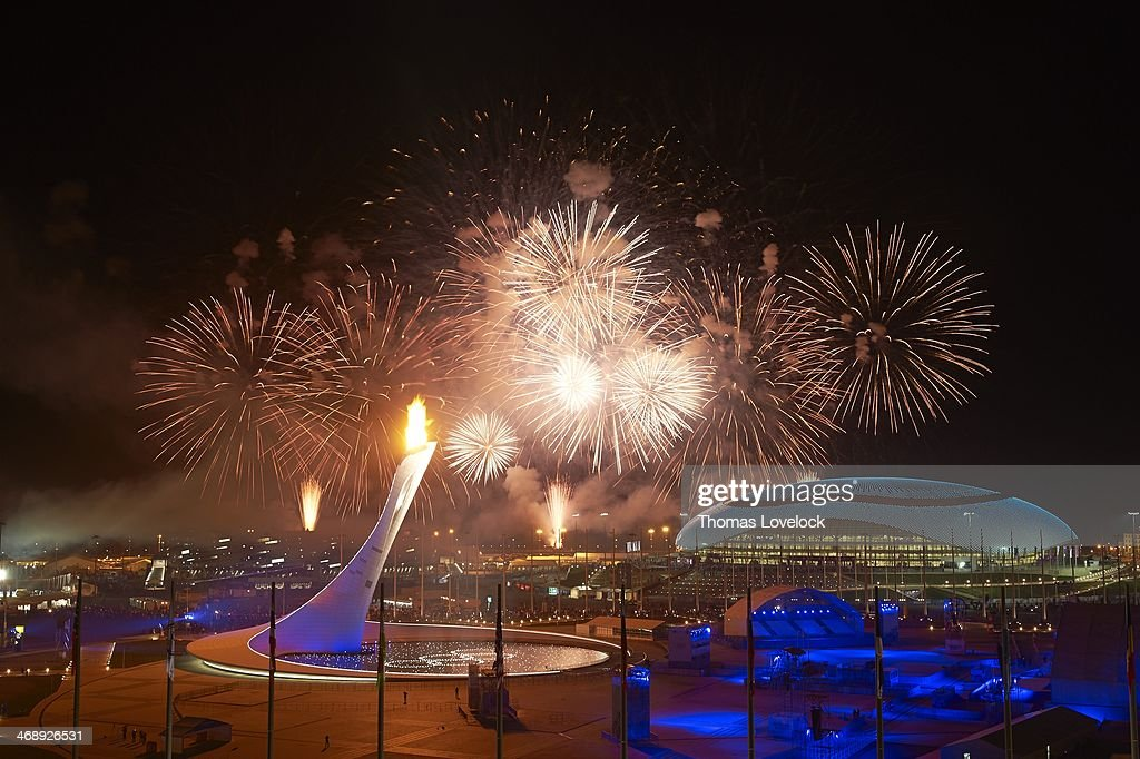 2014 Winter Olympics Scenic view of fireworks overhead as the Olympic flame and cauldron are lit near Bolshoy Ice Dome at Sochi Olympic Park Coastal...