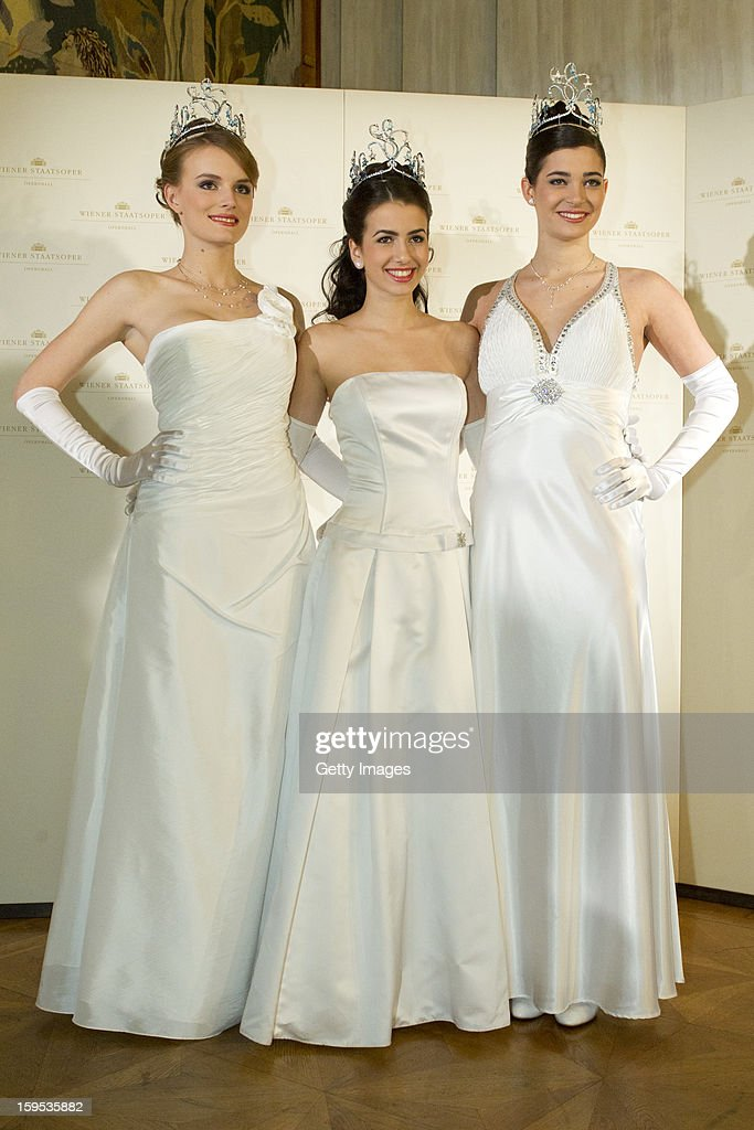 Opening ceremony debutants pose during the press conference ahead of Vienna Opera Ball on January 15, 2013 in Vienna, Austria.