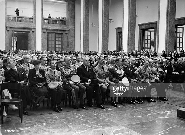 Opening ceremony in the hall of the House of German Art People from left President of the Reich Chamber of Fine Arts Adolf Ziegler Magda Goebbels...