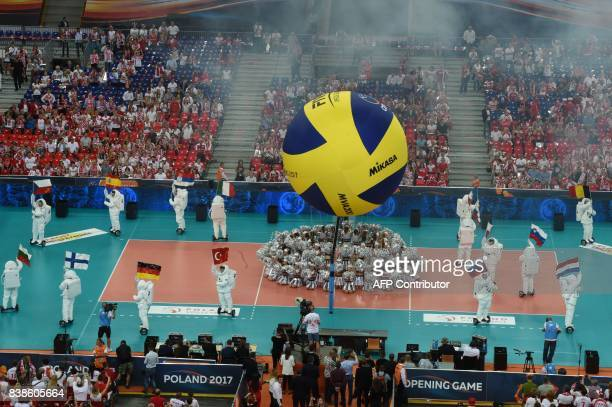 Opening ceremony of the Volleyball European Championship at the National stadium on August 24 2017 in Warsaw Poland / AFP PHOTO / AFP / JANEK...