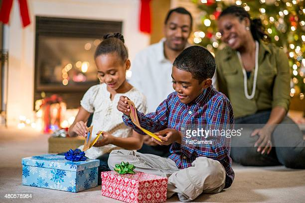 Opening Gifts on Christmas Morning