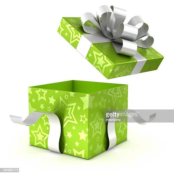 Opening green gift box with clipping path