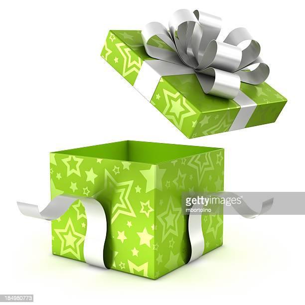 Se verde caja de regalo con trazado de recorte