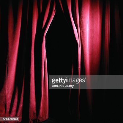 Opening in stage curtain : Stock Photo