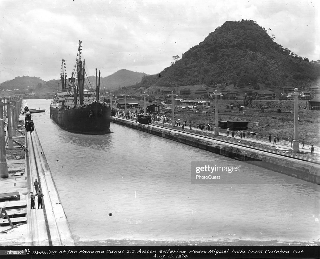 Opening of Panama Canal when the American Steamship SS Ancon entered Pedro Miguel locks from Culebra Cut Panama August 15 1914