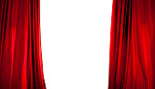 Opening of Red Stage Curtain with White Background