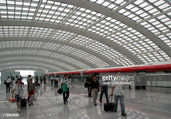 Opening of the Airport line In Beijing China On July 23 2008The Airport Line links the downtown areas with Terminal 3 a new terminal building at the...