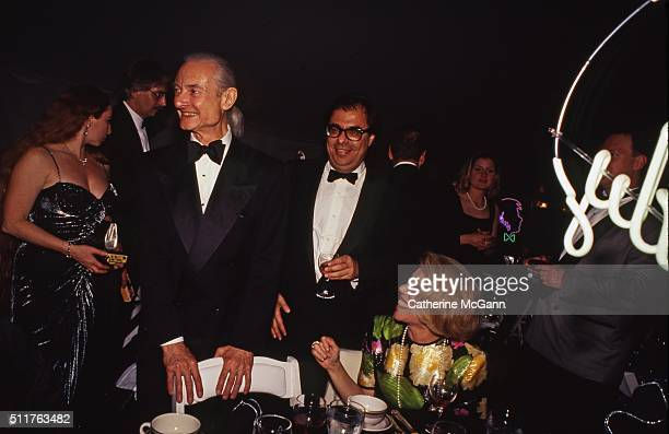 Opening of the Andy Warhol Museum in May 1994 in Pittsburgh PA Pictured LR Roy Lichtenstein Bob Colacello unidentified