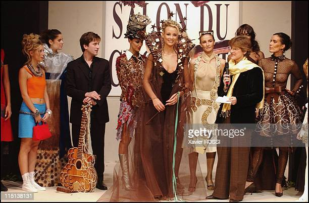 Opening of the Chocolate Fair fallwinter 20032004 fashion show featuring chocolatebased garbs by 15 designers to the benefit of the 'Voix de...