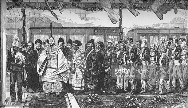 Opening of the first railway in Japan 1872 From Harmsworth History of the World Volume 1 by Arthur Mee JA Hammerton AD Innes MA